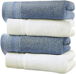 LEEPWEI フェイスタオル 4枚セット タオル 綿100% 柔らかな肌触り ふんわり 瞬間吸水 速乾 家庭用、ホテル、スポーツなどにも最適 重さ約115g/枚 35cm×75cm (オフホワイト2枚+ブルー2枚)