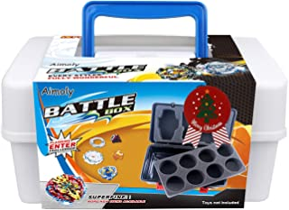 Aimoly Battle Tops Case, Storage Carrying Box Storage Box for Battling Spinner Game (White)