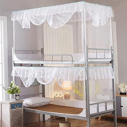 果言家纺 学生上下铺不锈钢支架蚊帐 宿舍单人床帐子 0.9/1.2米学生床 白色 1.2*1.9米(高0.9米)
