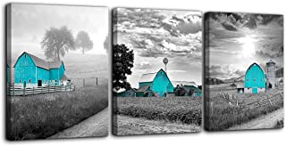 Teal Farmhouse Black and White Country Rustic Cabin Wall Art for Bedroom Bathroom Wall..