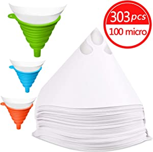 JANYUN 300 Pcs Paint Filter Strainer Resin Filter with 149 Micro Flow Nylon Mesh Cone Paint Filter Screen with 3 Pcs Silicone Funnel Filter (1)