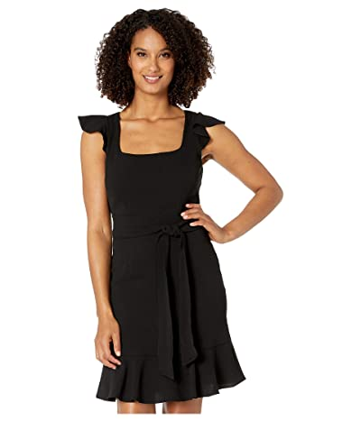 Adrianna Papell Crepe Flounce Dress with Tie Waist (Black) Women