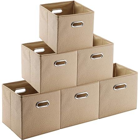 SUMart 折り畳み 収納ボックス 6個入り 収納ケース・ボックス キューブボックス 金属取っ手 (ベージュ)