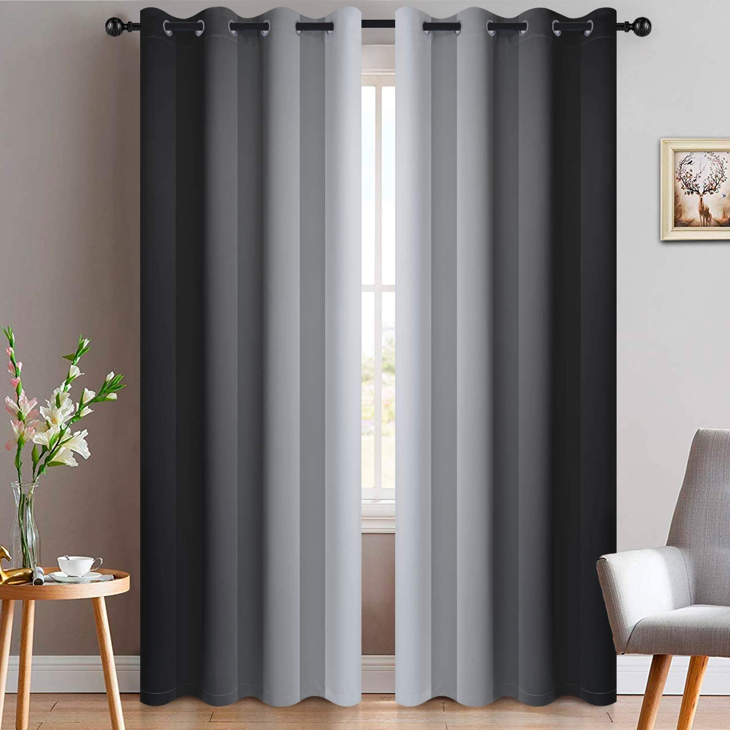 Yakamok OFFer Light Max 46% OFF Blocking Grommet Ombre Gradie Symmetrical Curtains