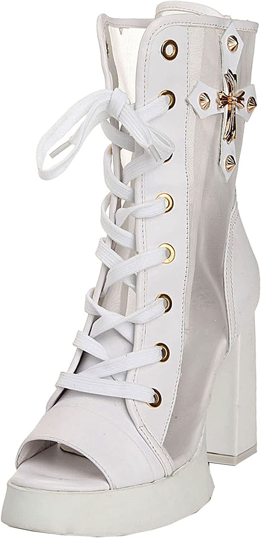 TDA Women's Gladiator Chunky Heel Platform Zipper Mesh Leather Comfort Dress Boots