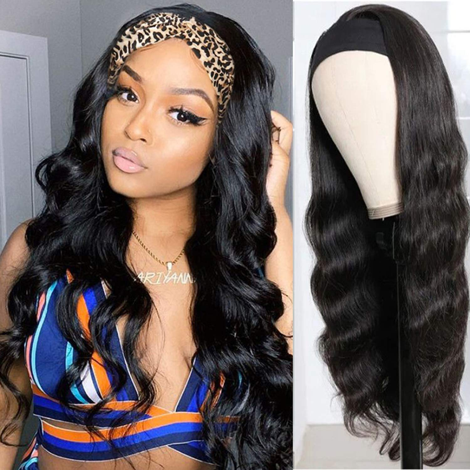 Complete Free Shipping KAFEIER Human Hair Headband Wigs Women For Wave Max 63% OFF Black Body