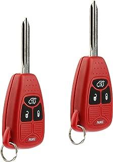 Key Fob Keyless Entry Remote fits Chrysler 200 300 300c PT Cruiser Sebring / Dodge Avenger Charger / Jeep Commander Grand Cherokee Liberty (Red), Set of 2