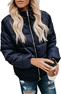 Womens Winter Fashion Zip Up Quilted Jacket Coat Outerwear (S-XXL,No Hooded)