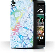 eSwish Phone Case/Cover for HTC Desire 820 / Blue Gemstone Design/Colour Holographic Marble Effect Collection