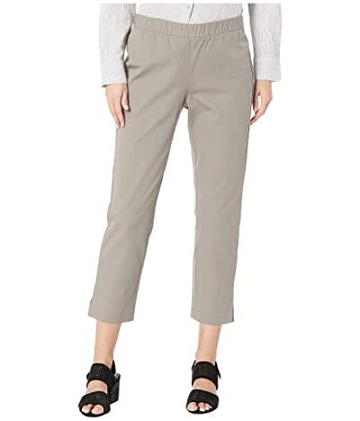 Eileen Fisher Organic Cotton Stretch Twill Mid-Rise Ankle Pants w/ Slits (Smoke) Women
