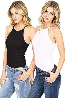 Ambiance Apparel Women's Juniors Basic Ribbed Bodysuits Bundle