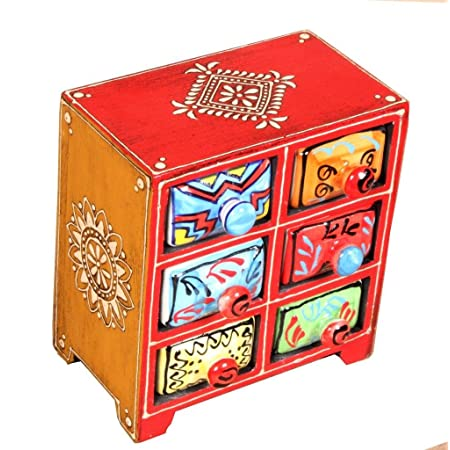 Home and Bazaar Wooden Painted Chest with 6 Ceramic Drawers (Multicolour)