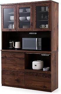 【5%OFFクーポンつき!4/21 12:00~4/21 23:59】LOWYA ロウヤ 食器棚 キッチン キッチン収納 国産 幅120×高さ181cm ブラウン