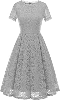 b996dbe9abfa DRESSTELLS Women's Bridesmaid Vintage Tea Dress Floral Lace Cocktail Formal  Swing Dress