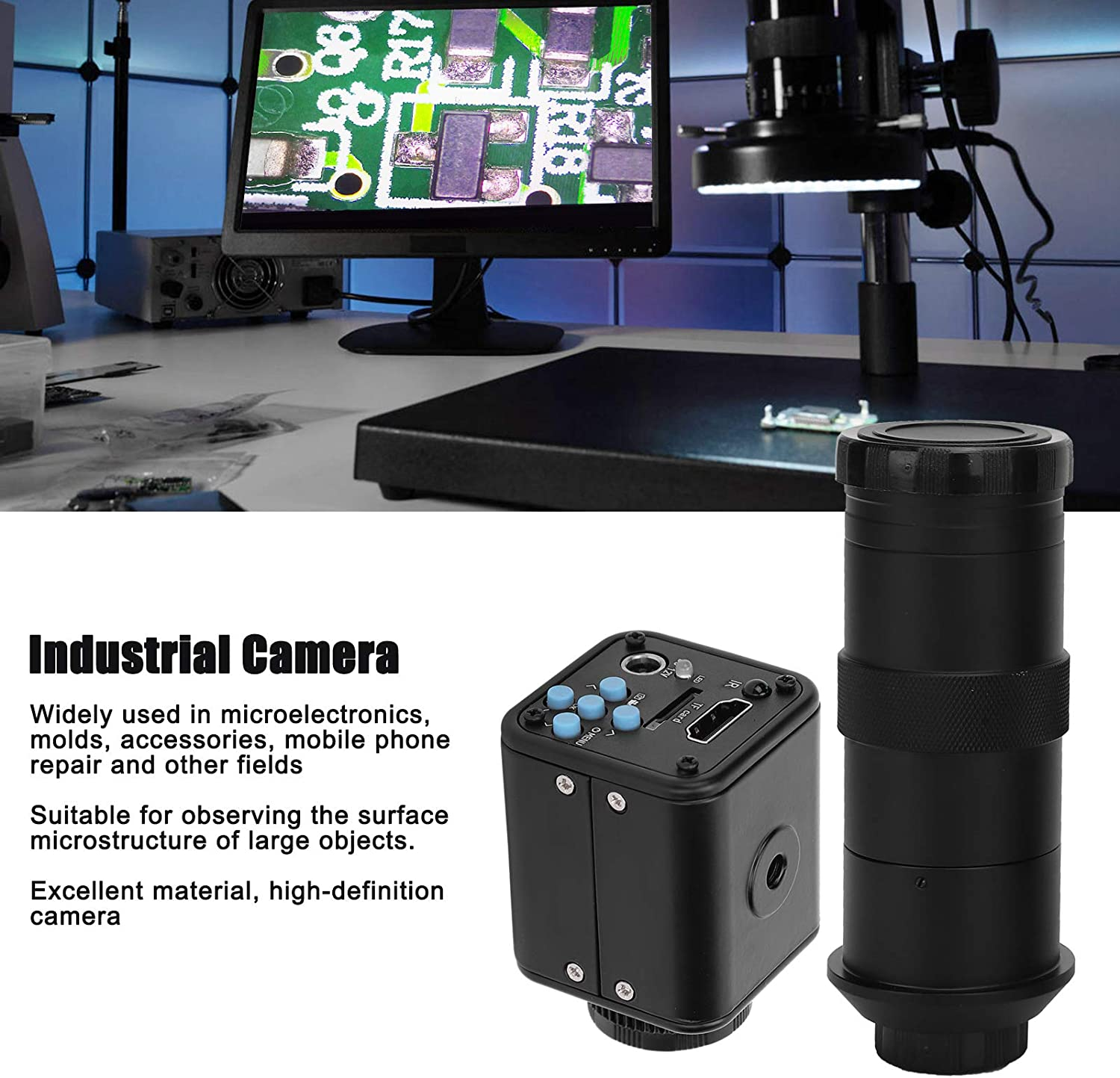 with Good Performance US Plug for Observing the Surface Microstructure of Large Objects Industrial Camera HD 16MP 1080P 2K 60FPS Video Electronic Digital Microscope Camera AC100‑240V