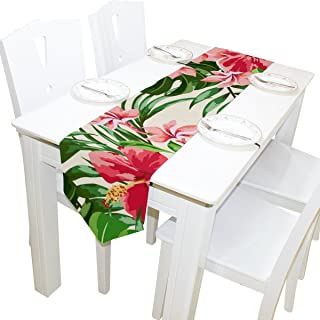 imobaby Tropical Hawaiian Plumeria and Hibiscus Flowers Table Runner Home Decor, Long Rectangle Tablecloth Mat for Wedding Party Banquet Decoration 13 x 90 Inch