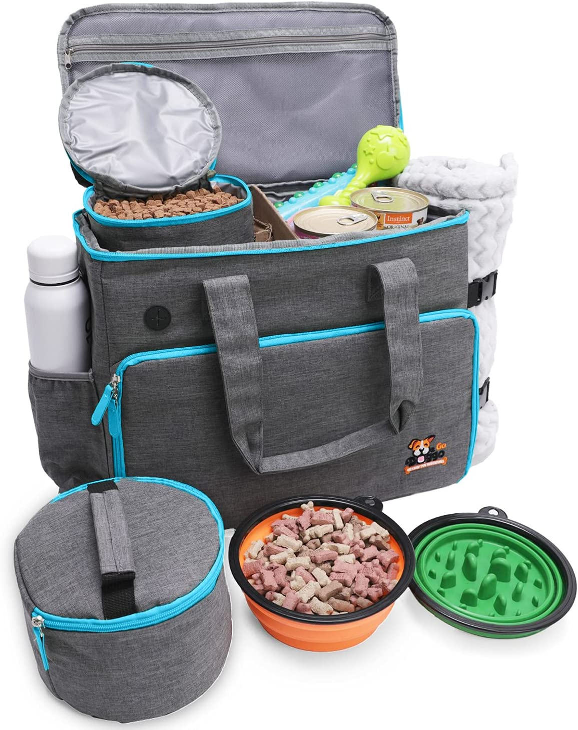 WeGo Doggo Airline-Compliant Leakproof Dog Travel Bag - 10 Dog Stuff Storage Pockets, Poop Bag Dispenser, 2 BPA-Free Collapsible Dog Bowl Food Containers - 16 Shelter Meals Donated Per Pet Travel Bag