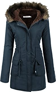 Womens Hooded Warm Winter Coats with Faux Fur Lined Outwear Jacket