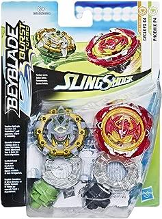 Hasbro Beyblade Burst E4747ES0 Beyblade Burst SlingShock Dual Packs Phoenix P4 and Cyclops C4, Spinning Top, Multi-Colour