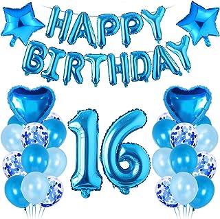 Décoration Anniversaire Garçon 16 An,Décoration Bleu, Ballon Aluminium 16 ,Ballon 16 Anniversaire, 16 Décoration Anniversa...