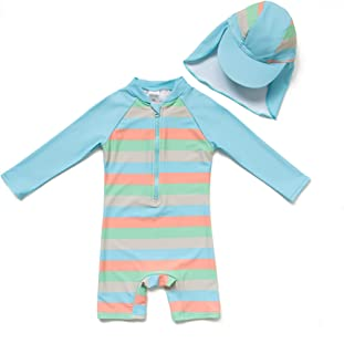 TM Baby Infant Boy's UPF 50+ Sun Protection L/S One Piece Zip Sunsuit