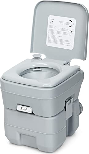 new arrival Giantex Portable Toilet 5.3 Gallon with T-Shaped new arrival Flush System, Built-in Rotating Spout, Carrying Handle, Latch for Detachment Waste Tank Commode for Travel, Camping new arrival RV Toilet (Gray) online