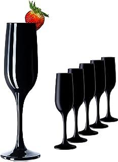 PLATINUX Lot de 6 flûtes à champagne robustes en verre noir max. 210 ml