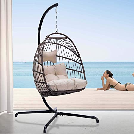 NICESOUL Indoor Outdoor Patio Wicker Hanging Chair with Stand Swing Egg Chairs UV Resistant Beige Cushions with Aluminum Frame 350lbs Capaticy for Patio Bedroom Balcony (Brown)