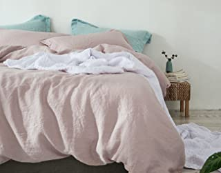 PHF 100% French Linen Duvet Cover Set 3 Pieces for Winter King Size Peachpuff Pink