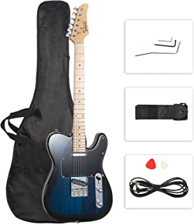 "GLARRY 39"" GTL Electric Guitar for Music Lover, SS Pickups Maple Fingerboard with Accessories Pack Guitar Bag (Dark Blue)"