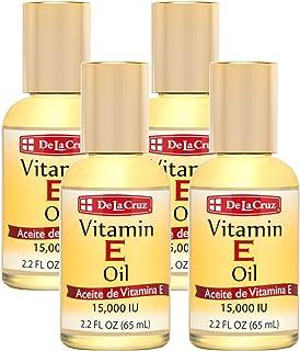 De La Cruz Vitamin E Oil 15,000 IU, No Preservatives, Artificial Colors or Fragrances, Made in USA 2.2 FL. OZ. (4 Bottles)