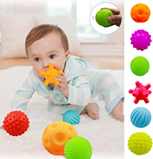 ROHSCE Baby Textured Multi Sensory Massage Ball set BPA Free for toddler Soft balls infant 6 month baby toys ball