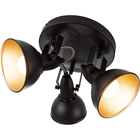 Briloner Leuchten Lampe plafonnier avec 3 spots pivotants et orientables dans un design rétro vintage – Douilles E14, 40w max. – Coloris noir & or mat