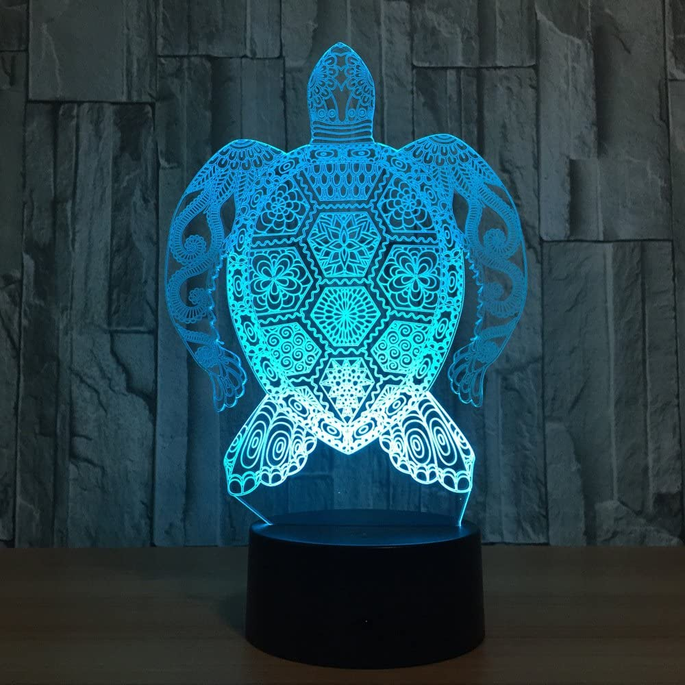 Sea Turtle 3D Night Light, 7 Colors Changing Optical Illusion Smart Touch Table Desk Lamp, Perfect Gifts for Kids' Home Decoration LED Lamp