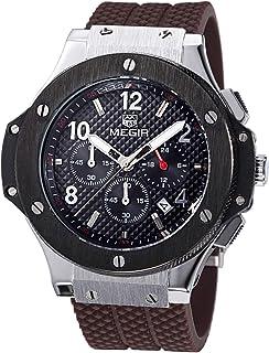 MEGIR 腕時計 スポーツ クロノグラフ 日本製クオーツ メンズ ブラウン シルバー