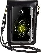 Premium Flower Design Crossbody Touch Screen Leather Case Pouch Bag for LG G6 / LG V20 / LG Stylo 2 / LG Stylus 3 / LG X Power/HTC Bolt/BlackBerry DKET60 / Google Pixel XL (Black)