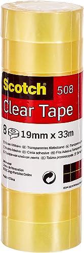 Scotch Cinta Adhesiva Transparente - 8 rollos - 19mm x 33m - Cinta Adhesiva para Uso General para el Colegio, el Hoga...
