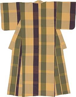 (ソウビエン) 木綿着物 単衣 レディース 伊勢木綿 天然素材 格子 ベージュ パープル グリーン チェック 単品 洗える 仕立て上がり
