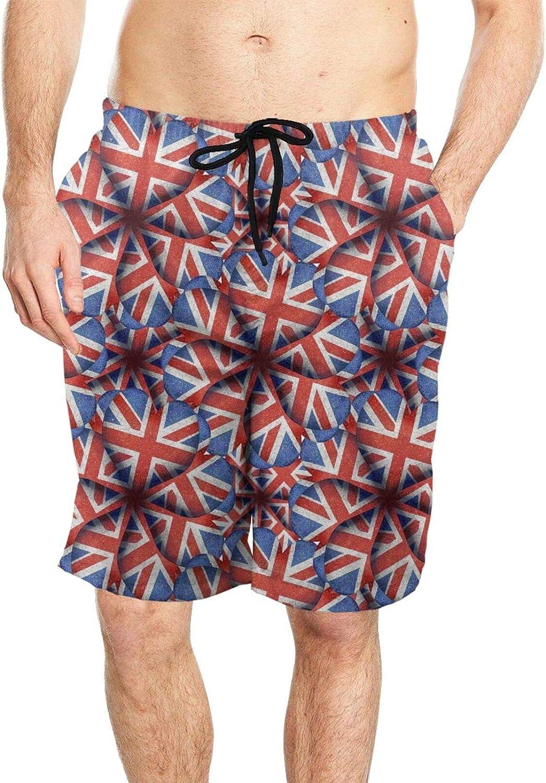 DASMUS England Flag Heart Shaped Motif Pattern Men's Drawstring Beach Board Shorts Swim Trunks with Mesh Lining
