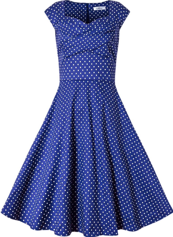 Zumeet Women Vintage Look Cup Sleeves Halter Skirt Dress bluee