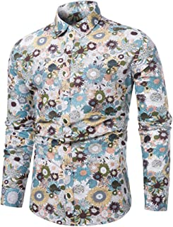 WULFUL Men's Floral Dress Shirt Causal Long Sleeve Paisley Flower Party Printed Button Down Shirts