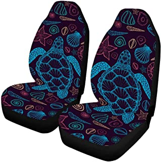 INTERESTPRINT Sea Animals Cute Collection Octopus, Fish, Whale, Jellyfish, Turtle, Crab Cartoon Car Seat Covers Protector Adjustable Removable Seat Cushions