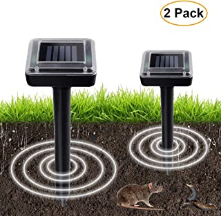Aogist 2 Pack Upgrade Mole Stopper,Waterproof Outdoor Solar Powered Gopher and Vole Chaser Animal Stopper