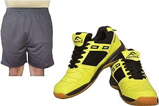 FOOTFIX Men's Squash Yellow (Non Marking) Gym, Badminton Sports Shoes with Free Black Shorts