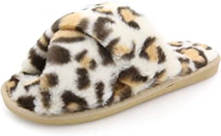 Womens Fuzzy Slippers Sandals Leopard Plush Open Toe Faux Fur Fluffy House Flats Slippers Cross Band Soft Warm Comfy Cozy Bedroom Slide Slippers