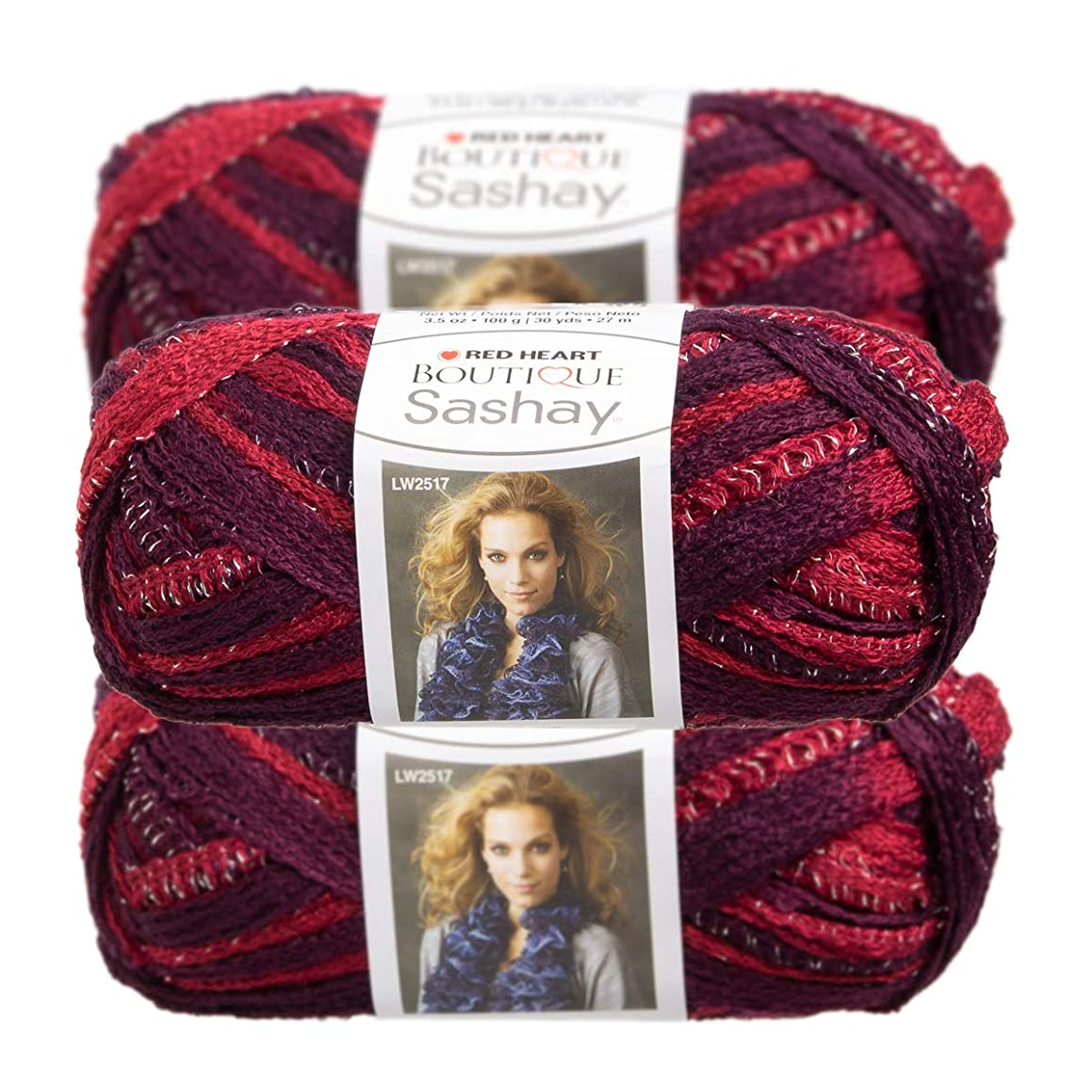 Red Heart (3 Pack Boutique Acrylic & Metallic Soft Tango Pink Purple Yarn for Knitting Crocheting Metallic Super Bulky #6