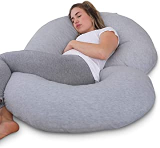 PharMeDoc Pregnancy Pillow with Travel & Storage Bag, C Shaped Full Body Pillow with Grey Jersey Cover