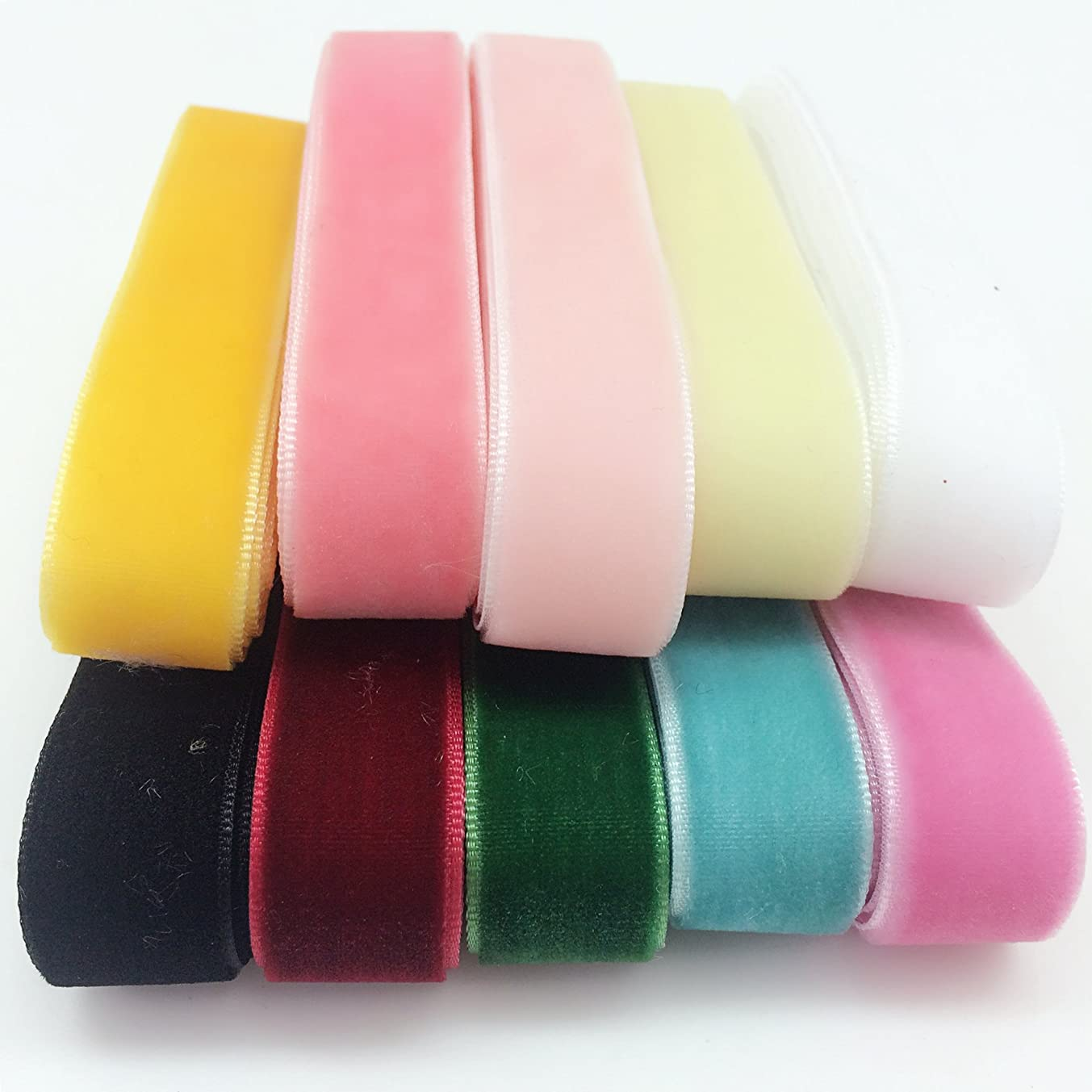 PEPPERLONELY 10 Color Set (1 Yard Each) Single Face Velvet Ribbon, 16mm (5/8 Inch)