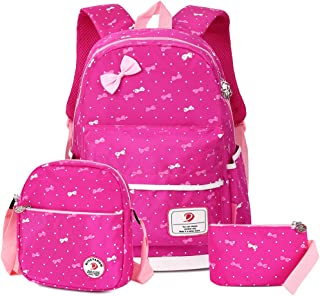 School Bags School Backpack Polka Dot 3pcs Kids Book Bag Lunch Bags Purse Girls