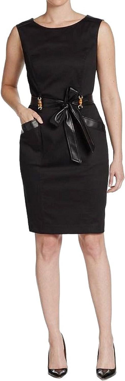ELLEN TRACY Women's Faux Leather-Trimmed Poplin Sheath Dress (6P, Black)